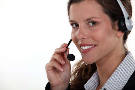 Brunette call-center worker photo