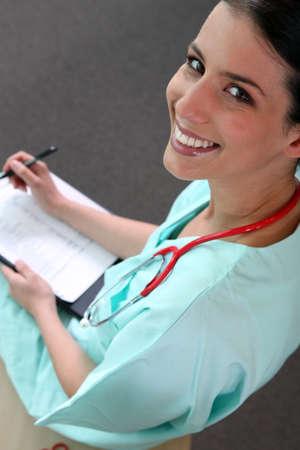 estudiantes medicina: Enfermera en pr�cticas Foto de archivo