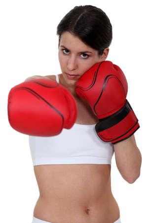 Brunette boxing photo