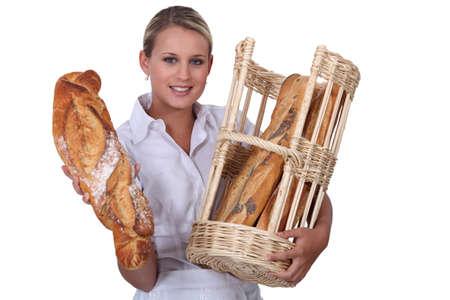 retailer: Woman baker self-employed on white background