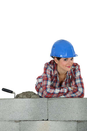 Gorgeous female bricklayer photo