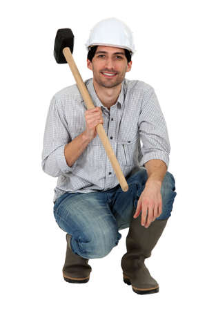 Tradesman holding a mallet Stock Photo - 11934986