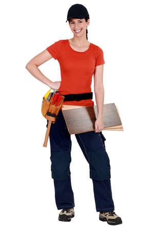 A female carpenter. photo