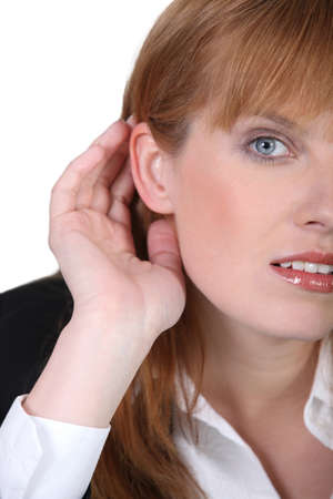 carefully: Woman listening carefully