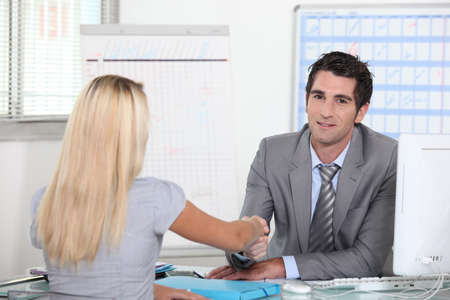 bank manager: Interview Stock Photo