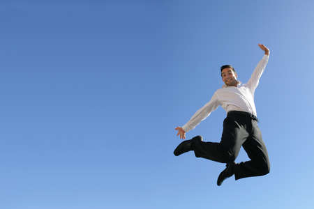 leap: Businessman in mid-air