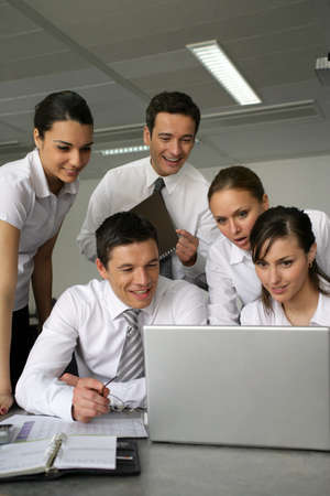 vocational: young businessmen and businesswomen on a vocational training Stock Photo