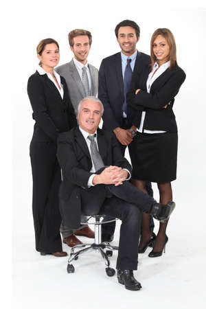 boss and employee: Young business team standing behind their boss
