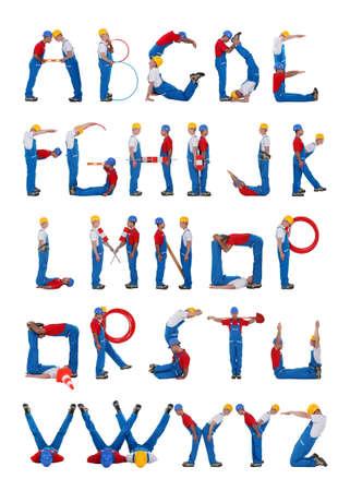 bent: Builders forming the alphabet