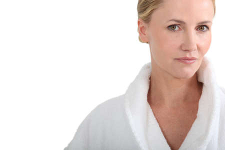 Woman in bath robe photo