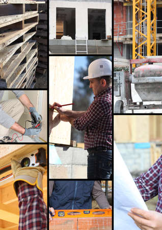 construction management project: Mosaic of workers on a construction site