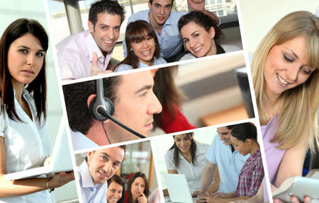 collaborating: Business people at work Stock Photo