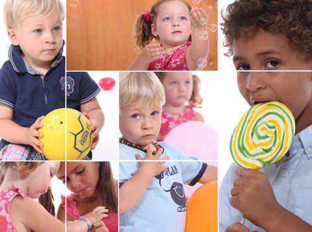 guardería: Mosaico de los niños pequeños juegan juntos