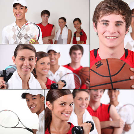 Sport themed collage photo
