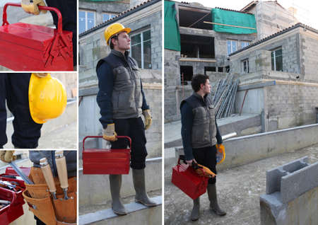 skilled labour: Collage of a construction worker