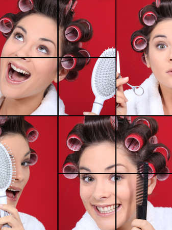 curlers: a woman creating a new hairstyle