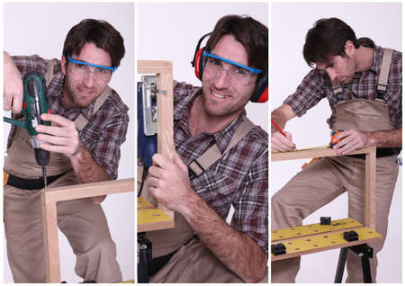 Collage of a carpenter at work photo
