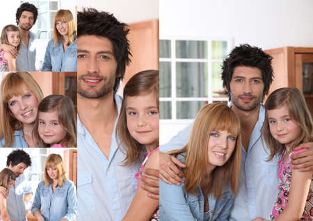 Portraits of a man, a woman and a little girl Stock Photo - 11947137