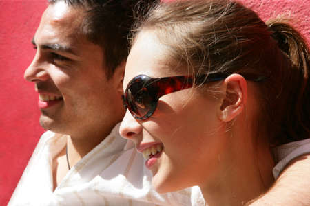 suntanned: Couple enjoying a sunny day out together