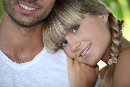 man face close up: close-up of a couple Stock Photo