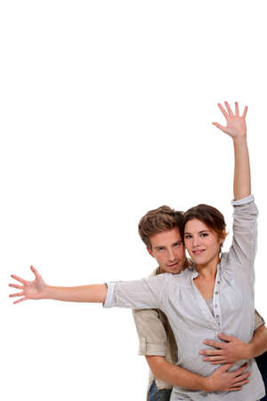 bashfulness: Couple on white background