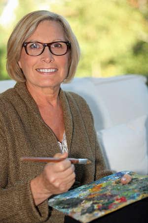 edad media: Una pintura de la mediana edad la mujer. Foto de archivo