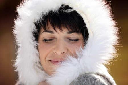 furred: Woman in a furry hood