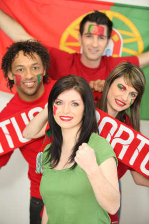 fanatics: Group of friends supporting the Portuguese football team Stock Photo