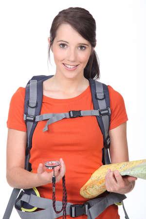 orienteering: Girl hiking