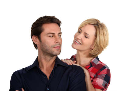 persuade: Woman trying to persuade her husband