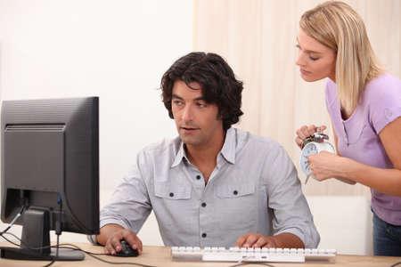 overlook: guy in his office Stock Photo