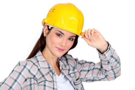 tipping: Female construction worker