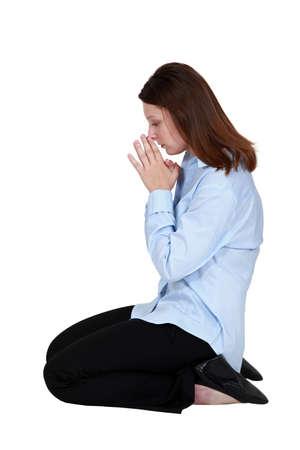 absorbed: Woman praying