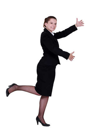skirt suit: Business professional playing an invisible double bass