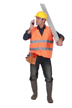 sturdy: Foreman with a walkie talkie