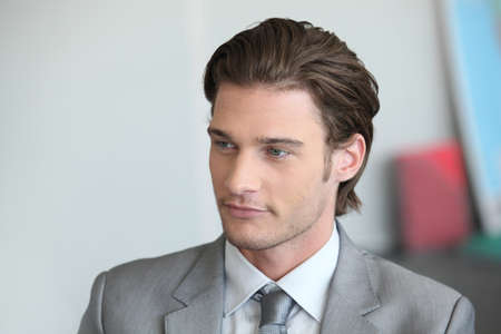 brown hair blue eyes: Young businessman