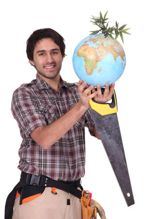 Builder and a globe photo