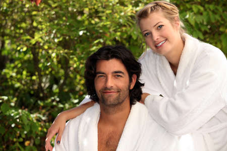 Couple in dressing gowns photo