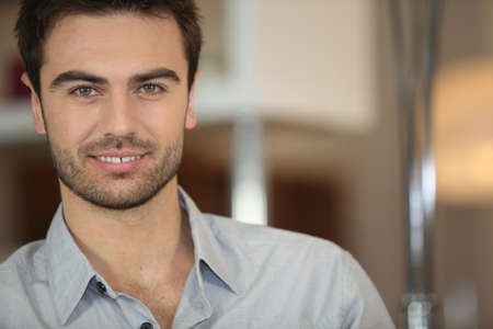 good attitude: portrait of handsome dark-haired man Stock Photo