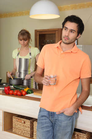 apprehension: a couple looking annoyed Stock Photo