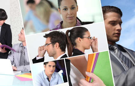 A collage of business professionals at work Stock Photo - 11971929