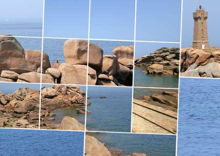 stone lighthouse, rocks and sea photo