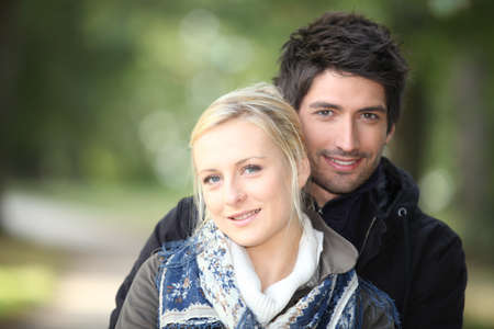 Couple walking in the countryside photo