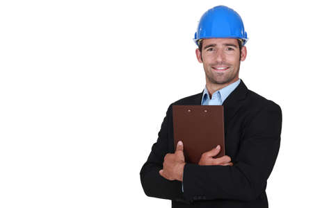 young engineer: Handsome architect with a clipboard Stock Photo