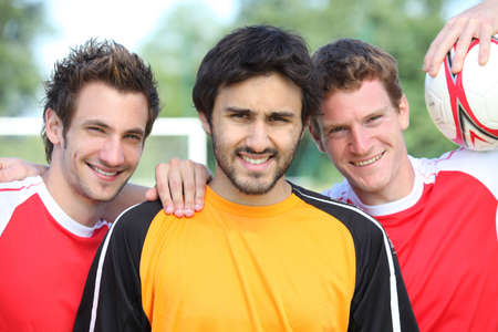 opponents: A group of football players Stock Photo