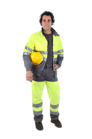 high visibility: Man wearing a high visibility suit