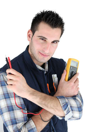 ampere: Electrician with a multimeter