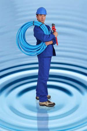 photomontage: Photo-montage of plumber Stock Photo