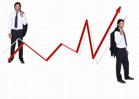 either: reduced size man in coat and tie on either side of red arrow against graph paper