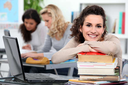 Female students in class Stock Photo - 12103653